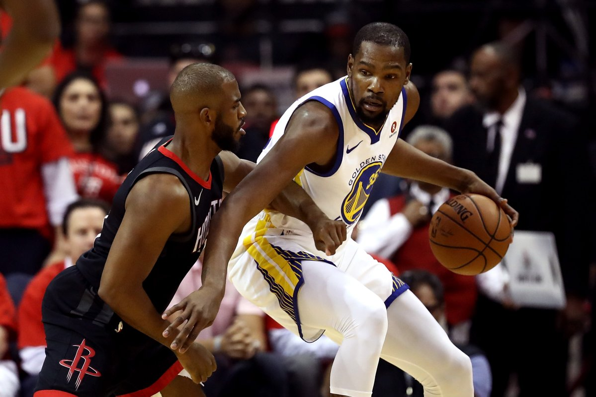 Warriors shoot down Rockets in game one