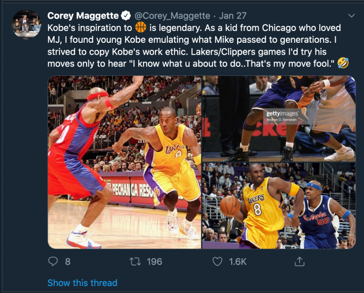 Corey Maggette Tweet over Kobe Bryant